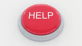Big red button with help inscription. Conceptual 3D rendering Royalty Free Stock Photography