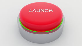 Big red button with launch inscription being pushed. Conceptual 3D rendering Royalty Free Stock Images