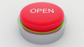 Big red button with open inscription being pushed. Conceptual 3D rendering Stock Photo