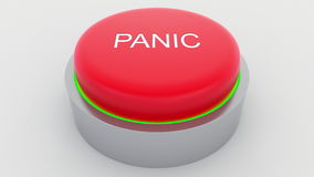 Big red button with panic inscription being pushed. Conceptual 3D rendering Stock Photography