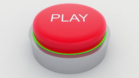 Big red button with play inscription being pushed. Conceptual 3D rendering Royalty Free Stock Photography