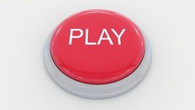 Big red button with play inscription. Conceptual 3D rendering Royalty Free Stock Photos