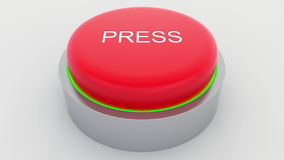 Big red button with press inscription being pushed. Conceptual 3D rendering Royalty Free Stock Image