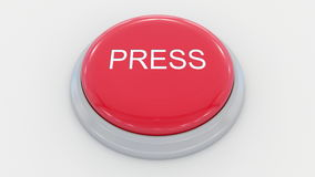 Big red button with press inscription. Conceptual 3D rendering. Big red button with press inscription. Conceptual 3D Royalty Free Stock Photo