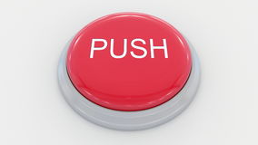 Big red button with push inscription. Conceptual 3D rendering. Big red button with push inscription. Conceptual 3D Stock Photo