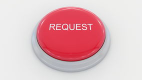 Big red button with request inscription. Conceptual 3D rendering. Big red button with request inscription. Conceptual 3D Stock Images