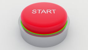 Big red button with start inscription being pushed. Conceptual 3D rendering Stock Photo
