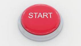 Big red button with start inscription. Conceptual 3D rendering Stock Photos