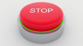 Big red button with stop inscription being pushed. Conceptual 3D rendering Royalty Free Stock Images