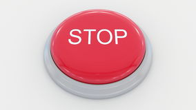 Big red button with stop inscription. Conceptual 3D rendering. Big red button with stop inscription. Conceptual 3D Stock Photos
