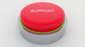 Big red button with support inscription being pushed. Conceptual 3D rendering Stock Photo
