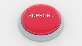 Big red button with support inscription. Conceptual 3D rendering. Big red button with support inscription. Conceptual 3D Stock Photos