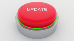 Big red button with update inscription being pushed. Conceptual 3D rendering Stock Image