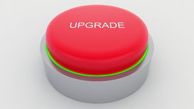 Big red button with upgrade inscription being pushed. Conceptual 3D rendering Royalty Free Stock Image