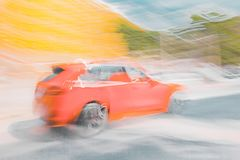 Frozen speed - red SUV royalty free stock photos