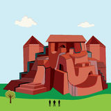 Big red castle. Red house with a tree and people stock illustration