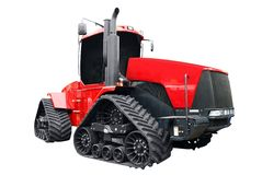 Big red caterpillar tractor isolated Royalty Free Stock Photos