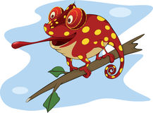 Big red Chameleon cartoon. Red Chameleon sitting on a branch Stock Photography