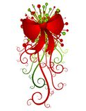 Big Red Christmas Bow and Ribbons Royalty Free Stock Image