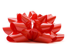 Big red Christmas bow  on white Royalty Free Stock Photos