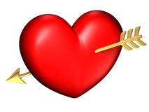 Big red and chubby heart alone. With a golden arrow Stock Photos