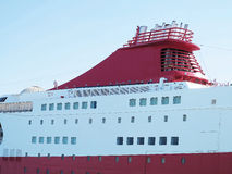 Big red cruise ship detail ready for go to sea Royalty Free Stock Photos