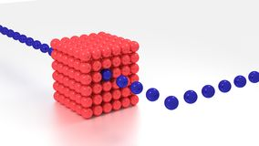 Big red cube made of spheres big data concept Stock Photo