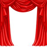 Big red curtain draped with pelmet Royalty Free Stock Images