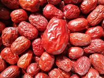 Big Red Date - Jujube Fruit. Closeup to a big Red Date - Jujube Fruit - /Fructus Jujubae among some small ones. They are different types. Ziziphus jujuba stock photos