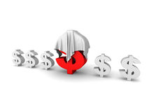 Big Red Different Dollar Currency Symbol Under White Cloth Stock Photography