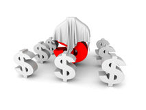 Big Red Different Dollar Currency Symbol Under White Cloth Stock Photo