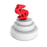 Big red dollar currency symbol on concrete podium Stock Photo