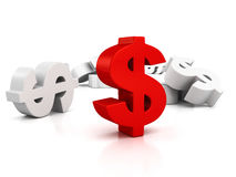 Big red dollar currency symbol out from whites Stock Photos