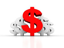 Big red dollar currency symbol out from whites Stock Image