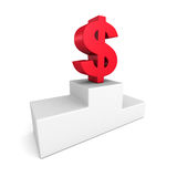 Big red dollar currency symbol on winner podium Royalty Free Stock Photography