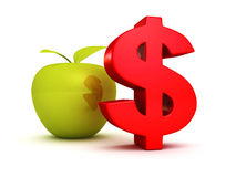 Big red dollar symbol with green apple. business success Stock Photography