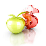 Big red dollar symbol with green apple. business success finance Stock Image