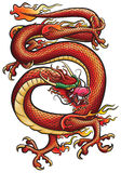 Big Red Dragon. Combination of vector (black lines) and raster (color). Detailed original work, based on traditional Chinese and Japanese Royalty Free Stock Photography
