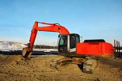 Big red excavator Stock Image