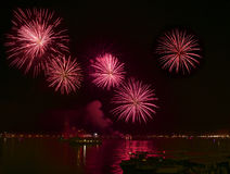 Big red fireworks explode in Venice in dark sky,New Year fireworks in Venice, 4 July, Independence, fireworks explode, New Year, V. Enice, Italy royalty free stock photos