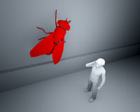 Big red fly on the wall. Fly on the wall listening into a conversation Stock Photography