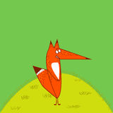 Big Red Fox tail angrily funny cartoon style stand upright at grass green background Stock Photo