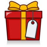 Big Red Gift with Blank Label or Tag Royalty Free Stock Images