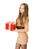 The  big red gift box. Royalty Free Stock Photo