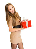 The  big red gift box. Royalty Free Stock Image