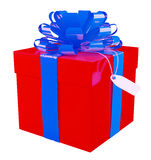 Big red gift box. With a big blue bow, white background Royalty Free Stock Images