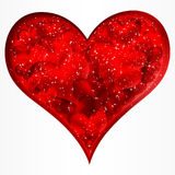 Big red glitter heart. royalty free stock image