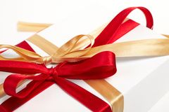 Big red, gold bow Stock Images