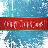 Big red and gold Christmas Banner on Snow Ice Stock Photo