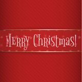 Big red gold Christmas Label on striped Background Stock Images